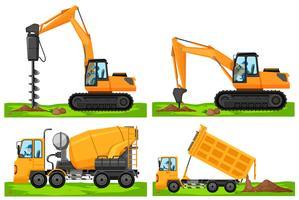Quatro tipos diferentes de veículos de construção vetor