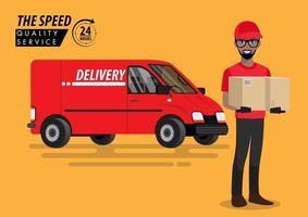 pacote no fundo do vetor de van de serviço de entrega