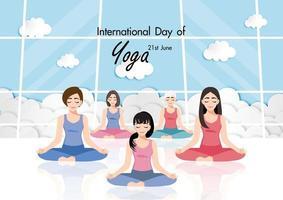 21 de junho dia internacional de ioga com vetor feminino praticando ioga