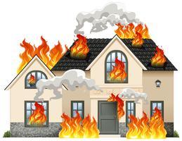 Uma casa moderna em chamas vetor
