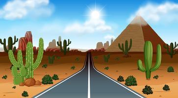 Cena do deserto com estrada vetor
