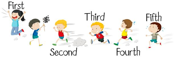 Crianças correndo na corrida vetor