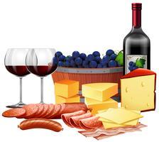 Queijo de carne e vinho emparelhamento vetor
