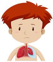 Um garoto com doença pulmonar vetor