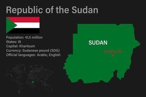 mapa do Sudão altamente detalhado com bandeira, capital e um pequeno mapa do mundo vetor