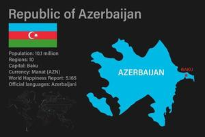 mapa do azerbaijão altamente detalhado com bandeira, capital e um pequeno mapa do mundo vetor