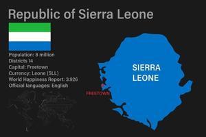 mapa de serra leoa altamente detalhado com bandeira, capital e um pequeno mapa do mundo vetor