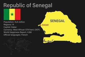 mapa altamente detalhado do senegal com bandeira, capital e um pequeno mapa do mundo vetor