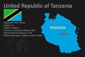 mapa da tanzânia altamente detalhado com bandeira, capital e um pequeno mapa do mundo vetor