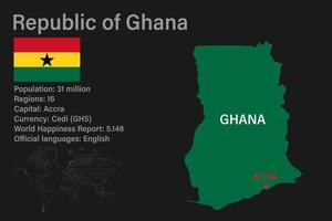 mapa de Gana altamente detalhado com bandeira, capital e pequeno mapa do mundo vetor