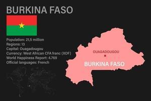 mapa de burkina faso altamente detalhado com bandeira, capital e um pequeno mapa do mundo vetor