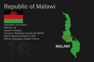 mapa do malawi altamente detalhado com bandeira, maiúscula e um pequeno mapa do mundo vetor