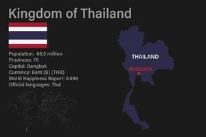 mapa da Tailândia altamente detalhado com bandeira, capital e um pequeno mapa do mundo vetor
