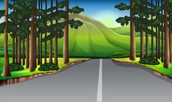 Cena de fundo com árvores ao longo da estrada vetor