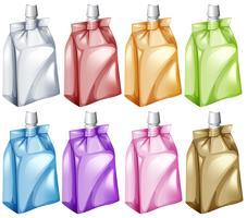 Sacos de suco em cores diferentes vetor