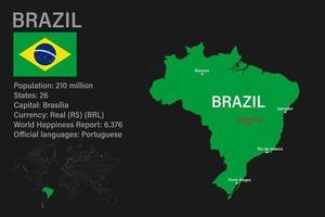 mapa do brasil altamente detalhado com bandeira, capital e pequeno mapa do mundo vetor