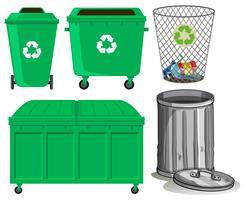 Lixeiras verdes com sinal de reciclar vetor