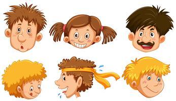 Rostos humanos diferentes com sorriso feliz