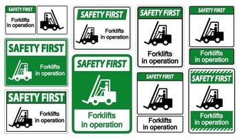 segurança primeiras empilhadeiras em operação vetor