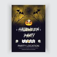 modelo de panfleto de festa de halloween com ilustração vetorial de símbolos de terror vetor
