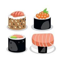 rolos de peixe realistas, o prato nacional japonês - vetor