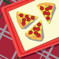 pizza deitada em uma bandeja, toalha de mesa quadriculada - vetor