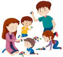 Pais, tocando, com, crianças vetor