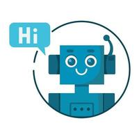 sorrindo fofo robô bate-papo bot com bolha do discurso. Serviço de suporte vetor