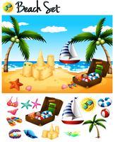 Objetos de praia e cena do oceano