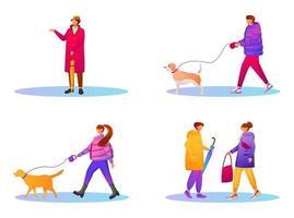 pessoas caminhando em casacos gradientes conjunto de caracteres sem rosto de cor lisa vetor