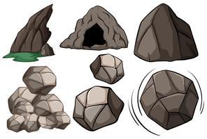Caverna e rochas vetor