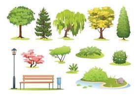 park tree forest cartoon arbustos com ilustrador de flores vetor