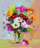 um buquê de flores em um vaso sobre a mesa. pintura por números. vetor