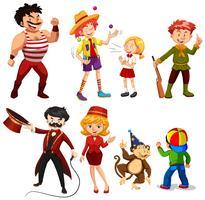 Conjunto de vários artistas de circo