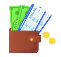 viajar avião chekin. carteira com dólares e moedas e passagens aéreas vetor