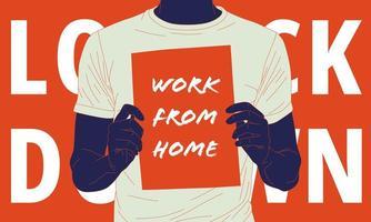ilustração de uma campanha para trabalhar em casa para prevenir a propagação do vírus. vetor