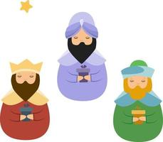 três magos de natal com presentes vetor