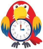 Um relógio de pássaro no fundo branco vetor