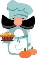chef com torta de abóbora e abóboras vetor