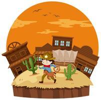 Cowboy na cidade ocidental vetor