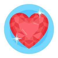 pedra preciosa de rubi de coração vetor