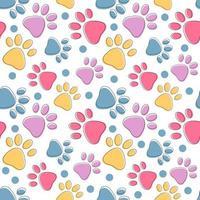 padrão sem emenda fofo com patas coloridas de gato ou cachorro de estimação vetor