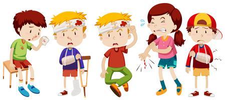 Crianças com feridas de acidente vetor