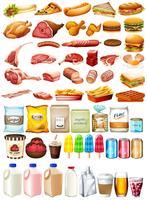Tipo diferente de comida e sobremesa vetor
