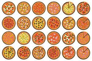 pizza quente redonda inteira, triângulo de fatia no menu da pizzaria vetor
