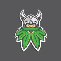 personagem mascote viking da cannabis vetor