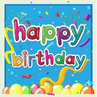 Modelo de cartão de feliz aniversário com balões no fundo vetor