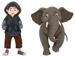 Menino e bebê elefante vetor