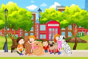 Amante do cão no parque vetor