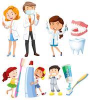 Dentista, e, crianças, dentes escovando vetor